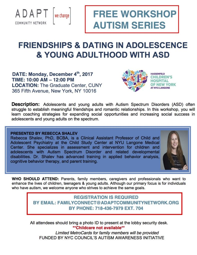 FRIENDSHIPS & DATING IN ADOLESCENCE & YOUNG ADULTHOOD WITH ASD - ADAPT @ ADAPT (formerly UCP NYC) | New York | New York | United States