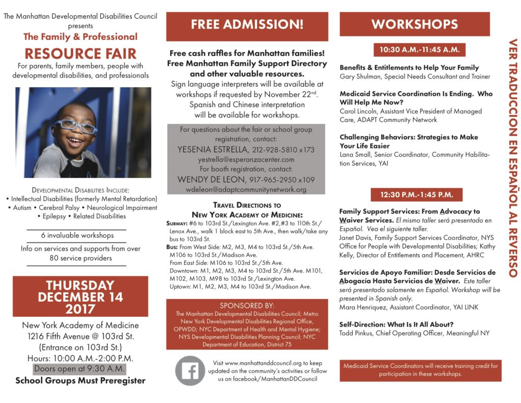Manhattan Family & Professional Resource Fair @ New York Academy of Medicine | New York | New York | United States