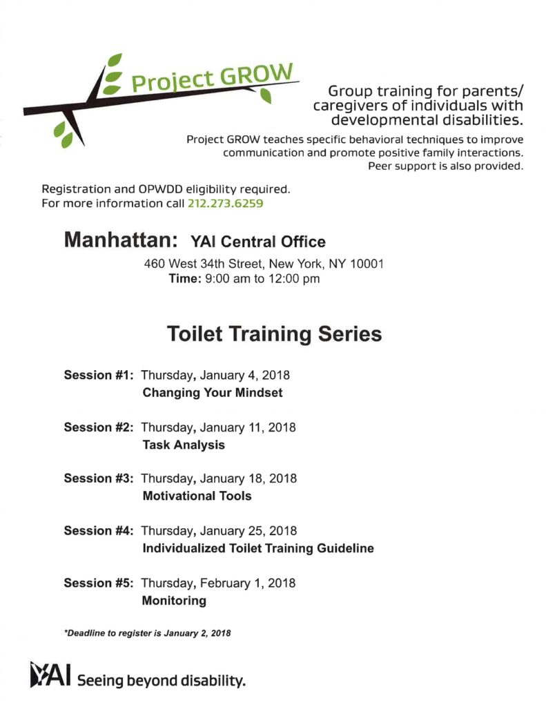 YAI: Project Grow: TOILET TRAINING @ YAI (11th Floor) | New York | New York | United States